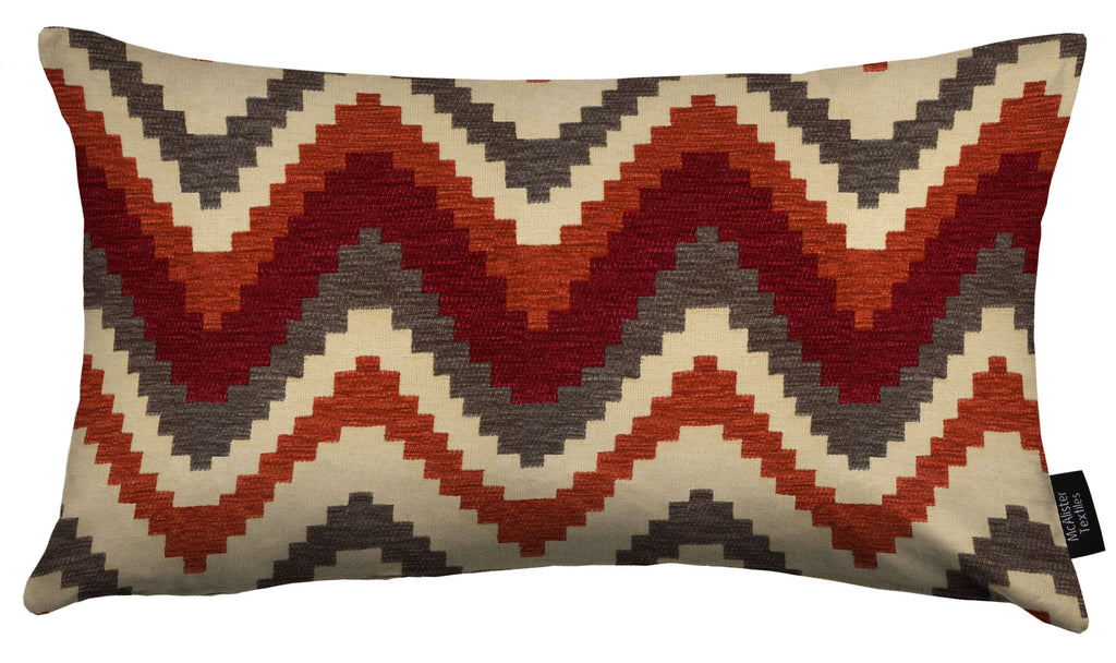 McAlister Textiles Navajo Red + Burnt Orange Striped Cushion Cushions and Covers Cover Only 50cm x 30cm
