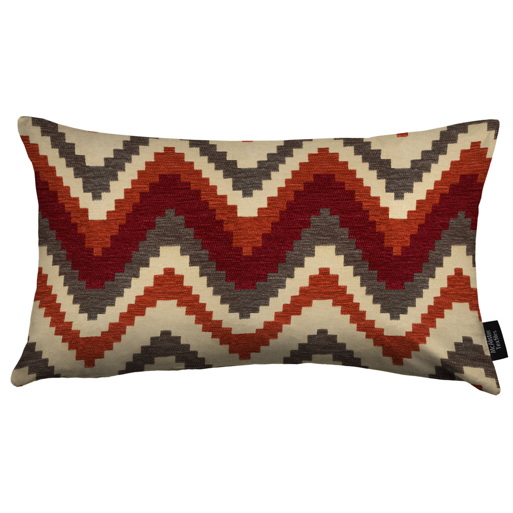 McAlister Textiles Navajo Red + Burnt Orange Striped Pillow Pillow Cover Only 50cm x 30cm