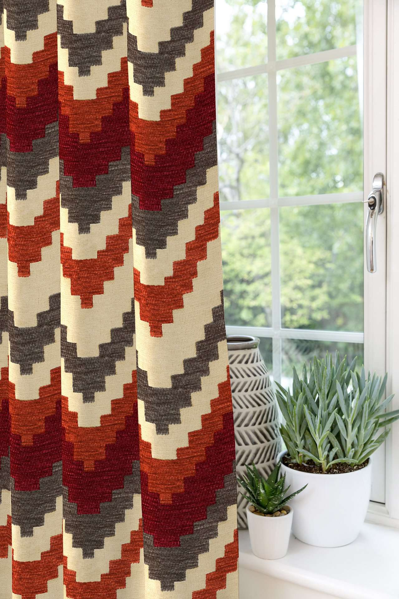 McAlister Textiles Navajo Red + Burnt Orange Striped Curtains Tailored Curtains