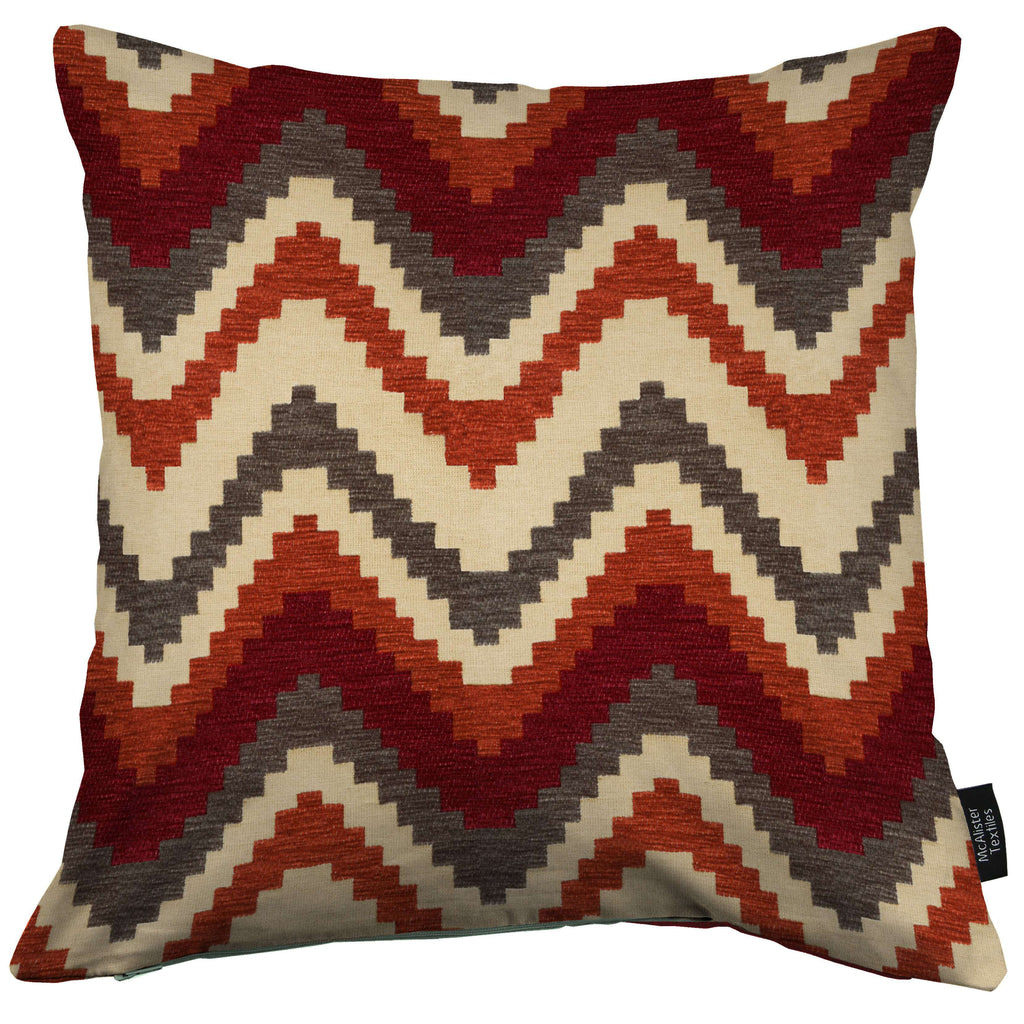 McAlister Textiles Navajo Red + Burnt Orange Striped Cushion Cushions and Covers Cover Only 43cm x 43cm