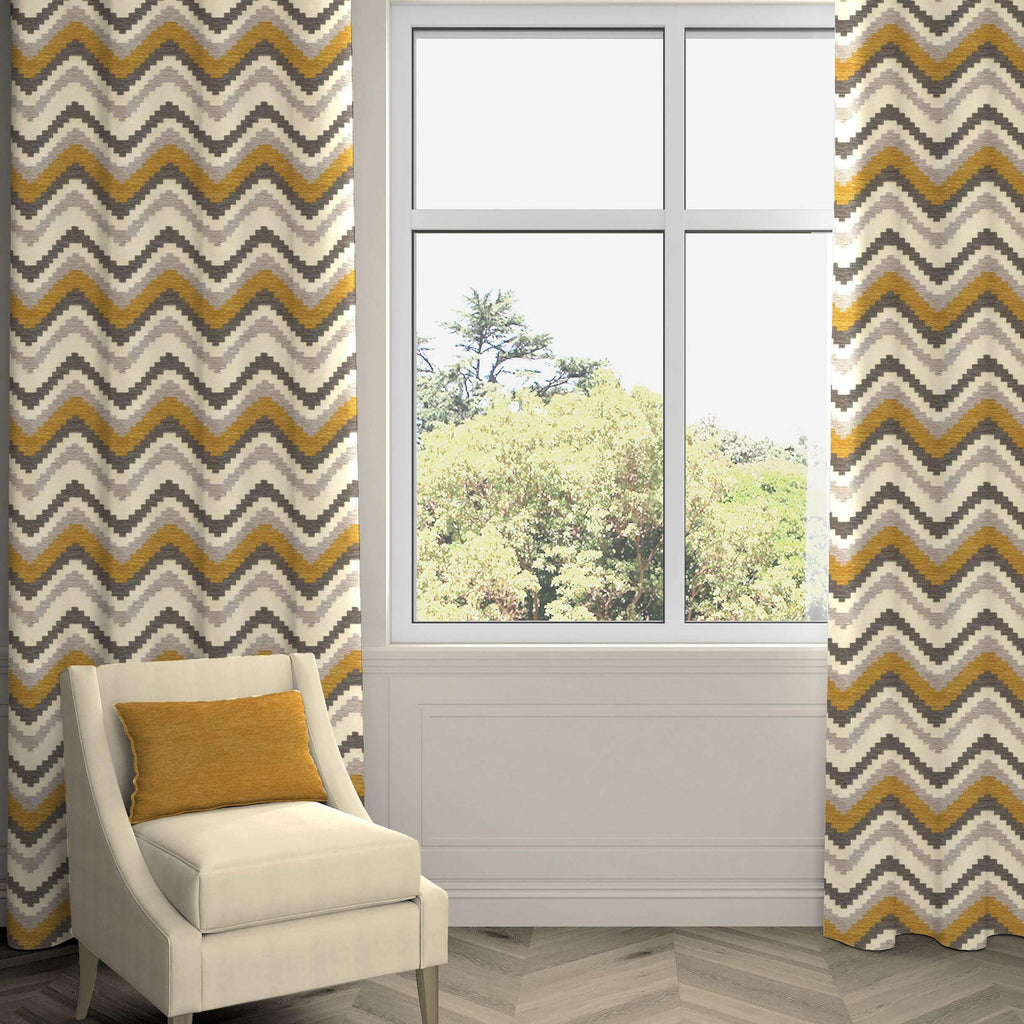 "McAlister Textiles Navajo Yellow + Grey Striped Curtains Tailored Curtains 116cm(w) x 182cm(d) (46"" x 72"")"