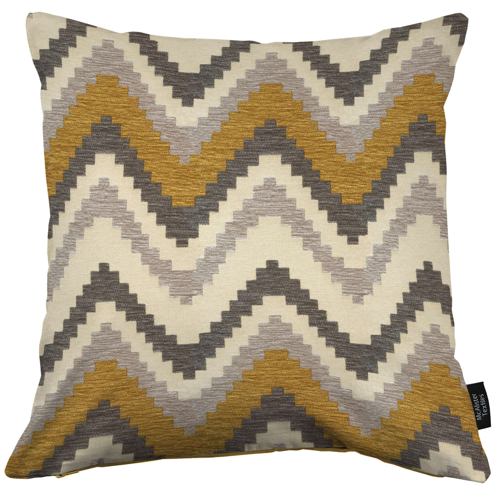 McAlister Textiles Navajo Yellow + Grey Striped Cushion Cushions and Covers Cover Only 43cm x 43cm