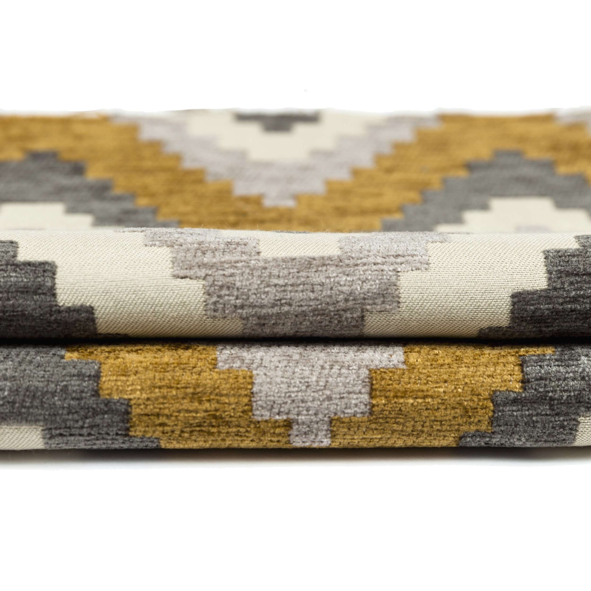 McAlister Textiles Navajo Yellow+ Grey Striped Fabric Fabrics