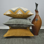 Load image into Gallery viewer, McAlister Textiles Navajo Yellow + Grey Striped Cushion Cushions and Covers