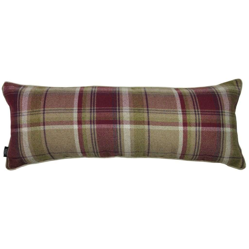 McAlister Textiles Deluxe Tartan Purple + Green Bed Pillow Large Boudoir Cushions