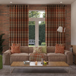 Load image into Gallery viewer, McAlister Textiles Heritage Burnt Orange + Grey Tartan Curtains Tailored Curtains