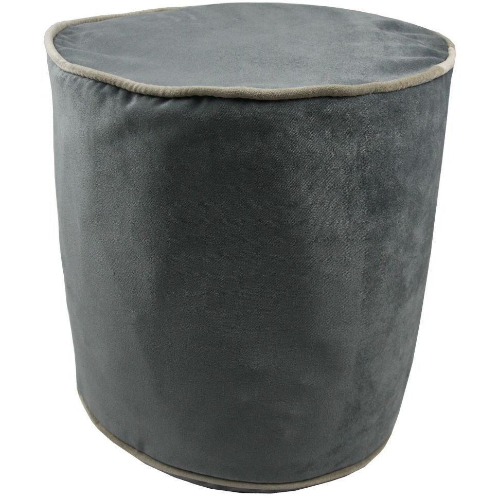 McAlister Textiles Deluxe Velvet Charcoal Grey Ottoman Round Stool