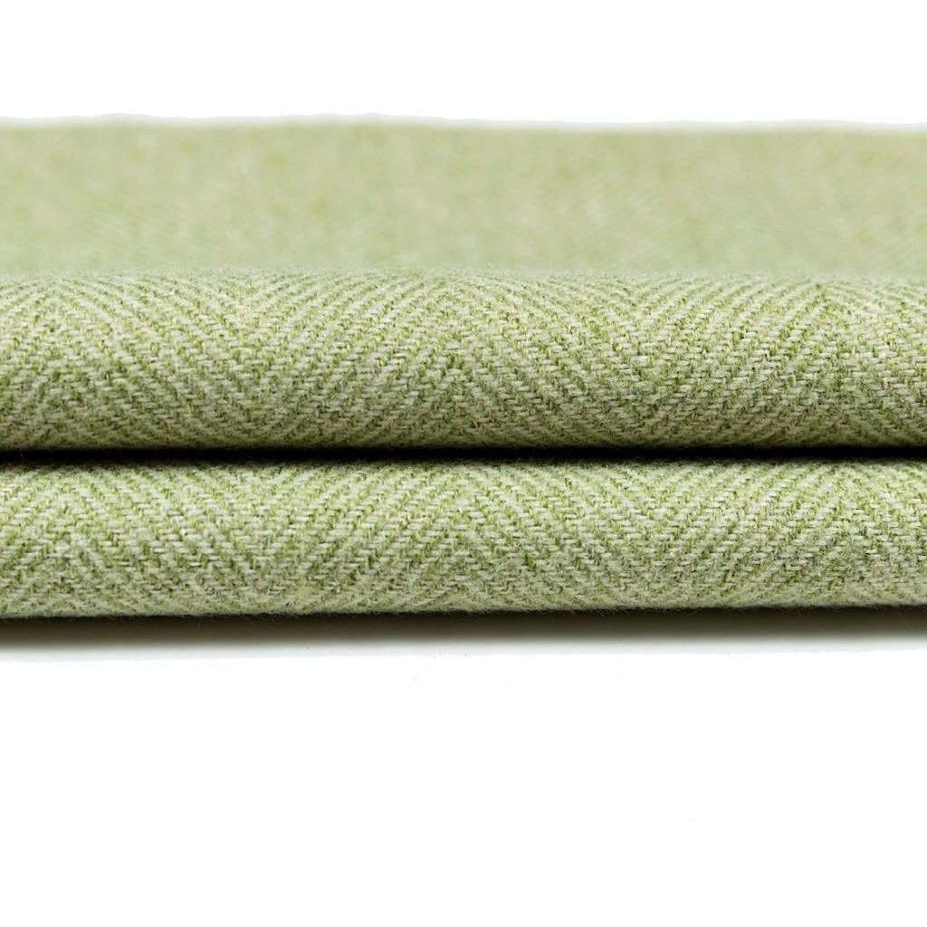 McAlister Textiles Herringbone Boutique Green + Grey Throw Blankets & Runners Throws and Runners