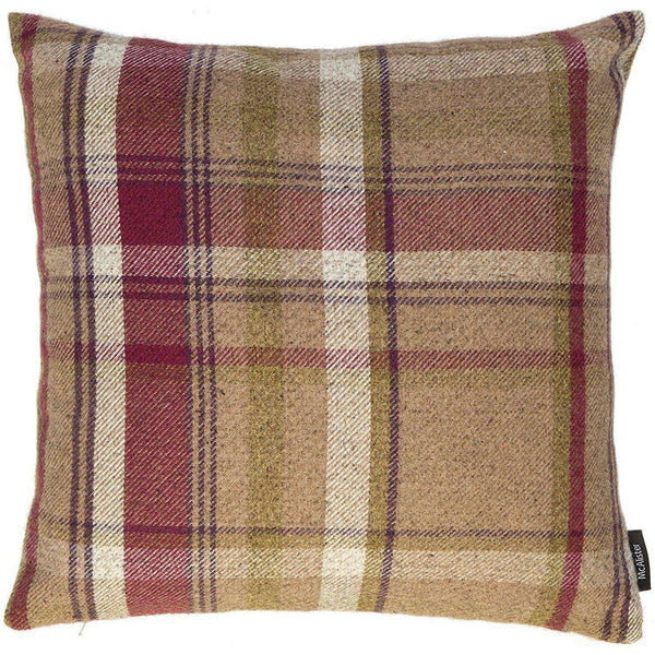 McAlister Textiles Heritage Tartan Check Mulberry + Green Cushion Cushions and Covers Cover Only 43cm x 43cm