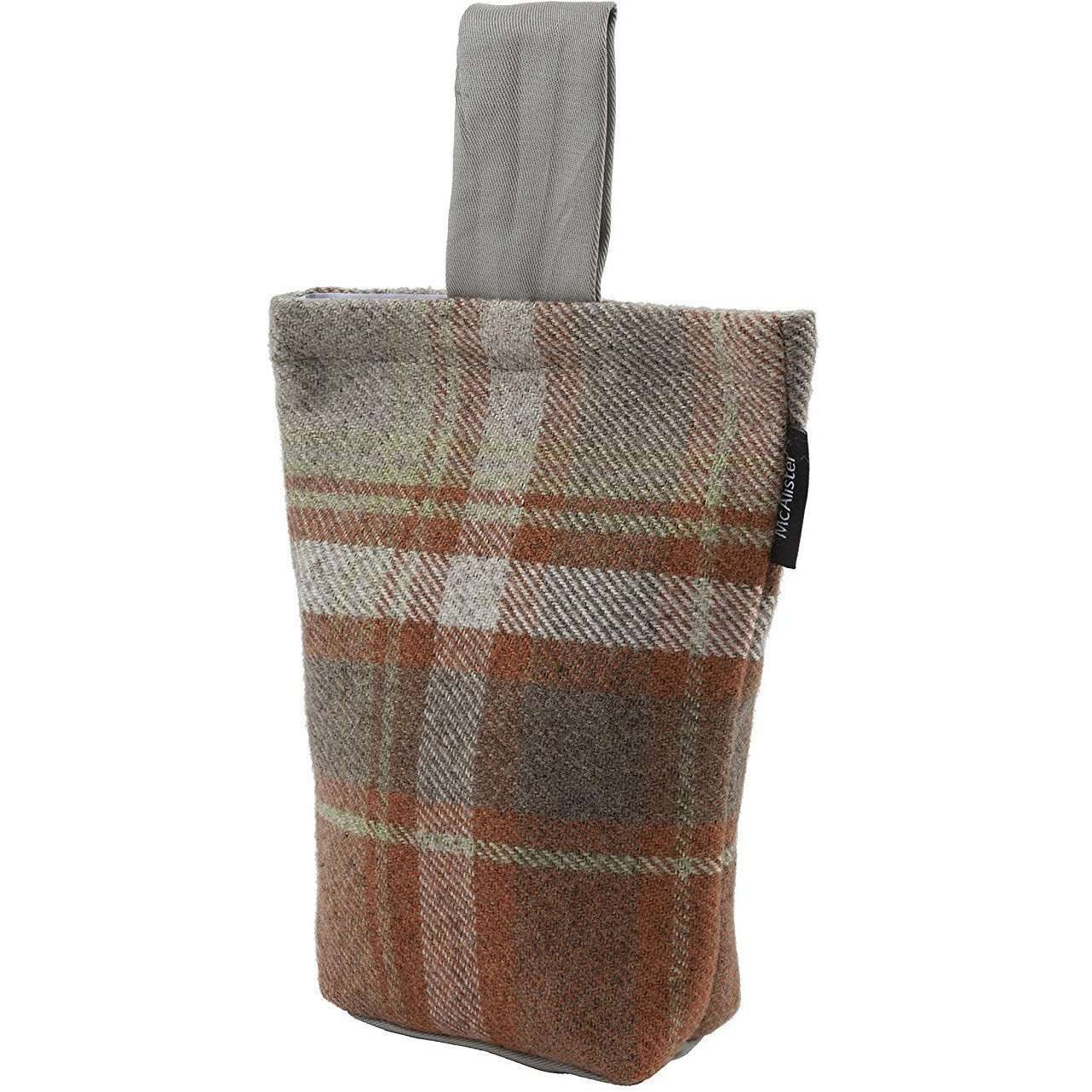 McAlister Textiles Heritage Tartan Burnt Orange + Grey Fabric Door Stop Doorstops