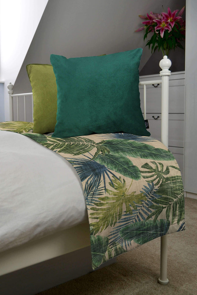 McAlister Textiles Palm Leaf Velvet Print Throw Blanket Throws and Runners