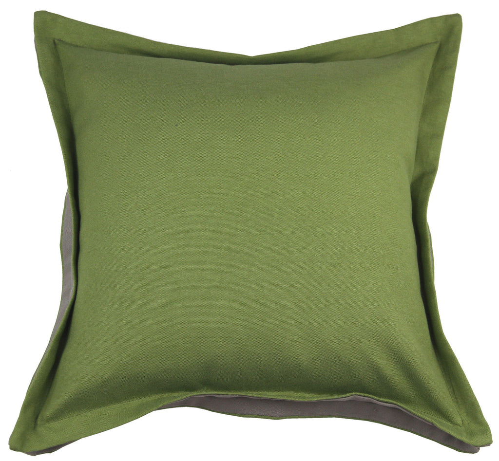 McAlister Textiles Panama Accent Fern Green + Grey Cushion Cushions and Covers Cover Only 43cm x 43cm