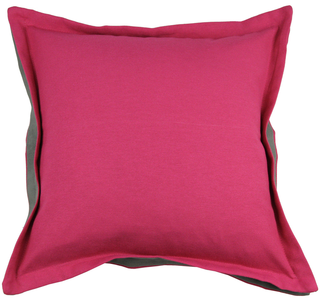 McAlister Textiles Panama Accent Fuchsia Pink + Grey Cushion Cushions and Covers Cover Only 43cm x 43cm