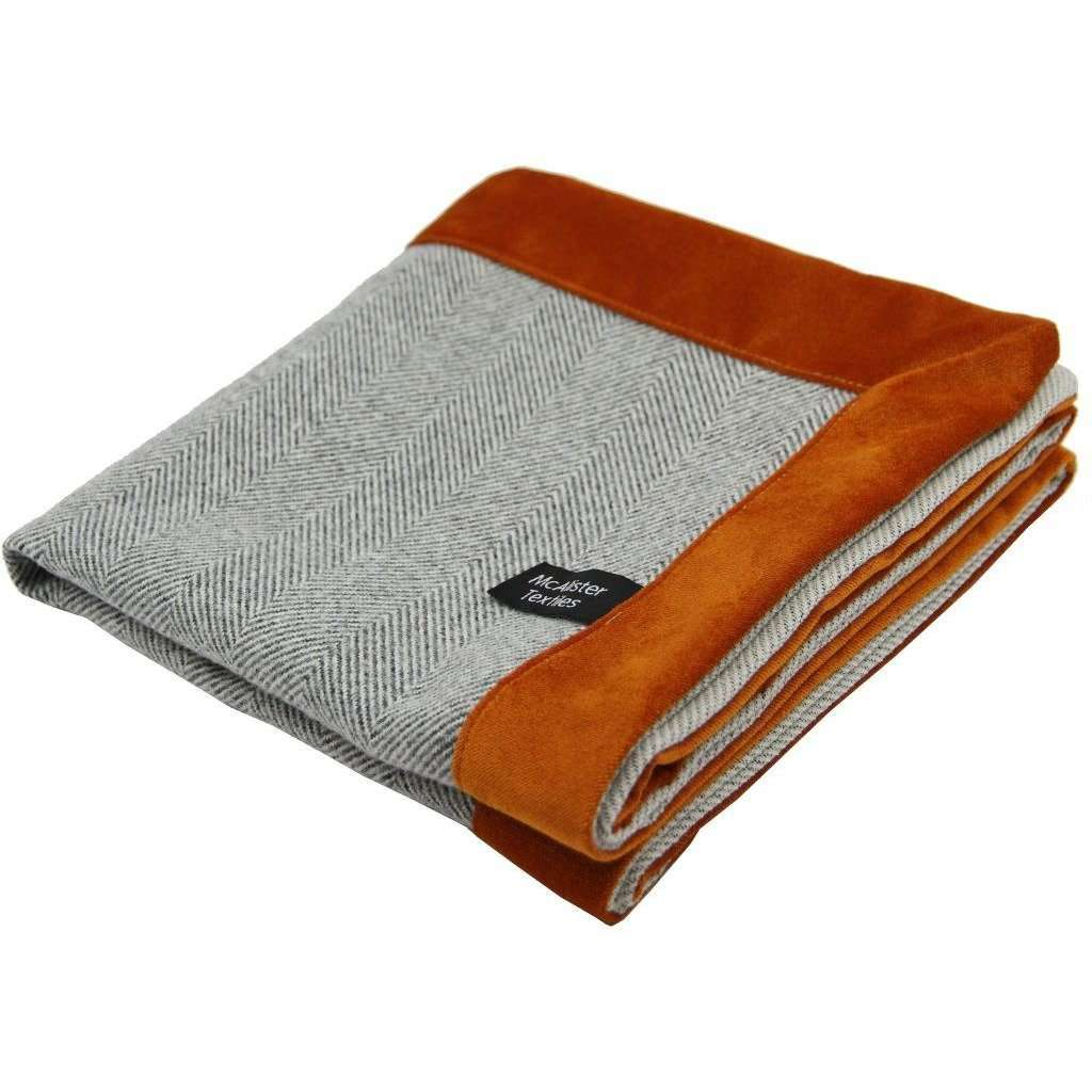 McAlister Textiles Herringbone Boutique Grey + Orange Throw Blanket Throws and Runners Regular (130cm x 200cm)