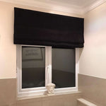 Laden Sie das Bild in den Galerie-Viewer, McAlister Textiles Plain Chenille Black Roman Blind Roman Blinds