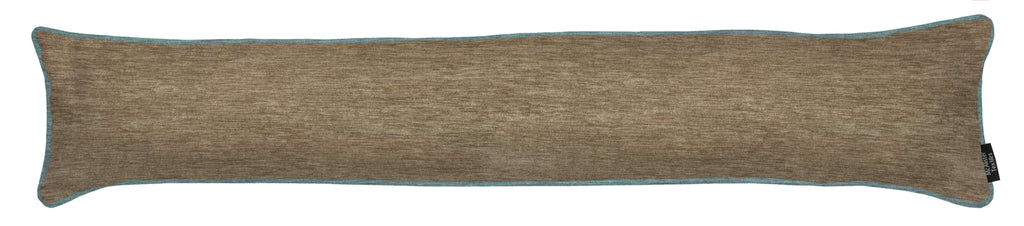 McAlister Textiles Alston Chenille Beige + Blue Draught Excluder Draught Excluders