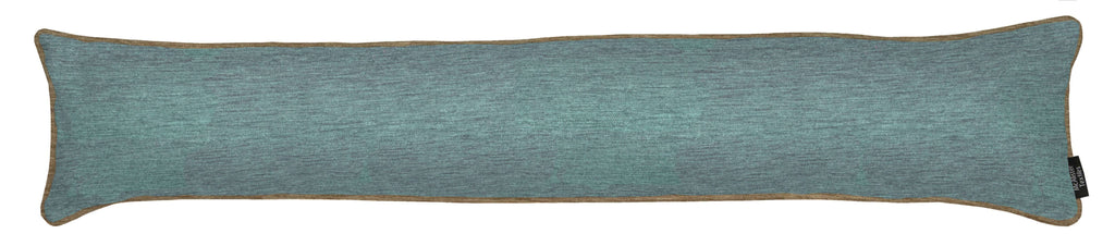 McAlister Textiles Alston Chenille Blue + Beige Draught Excluder Draught Excluders