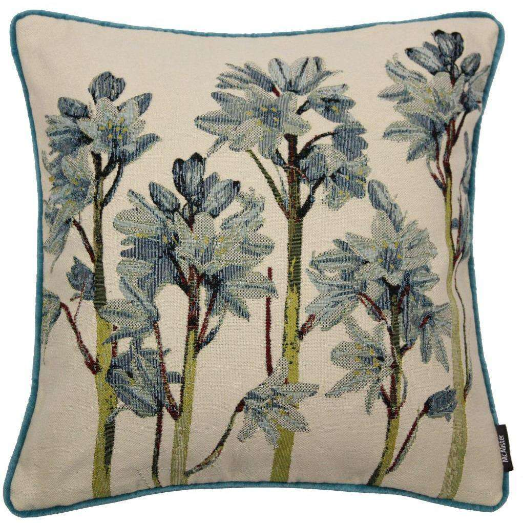 Mcalister Textiles Floral Bluebell Green Amp Blue Cushion