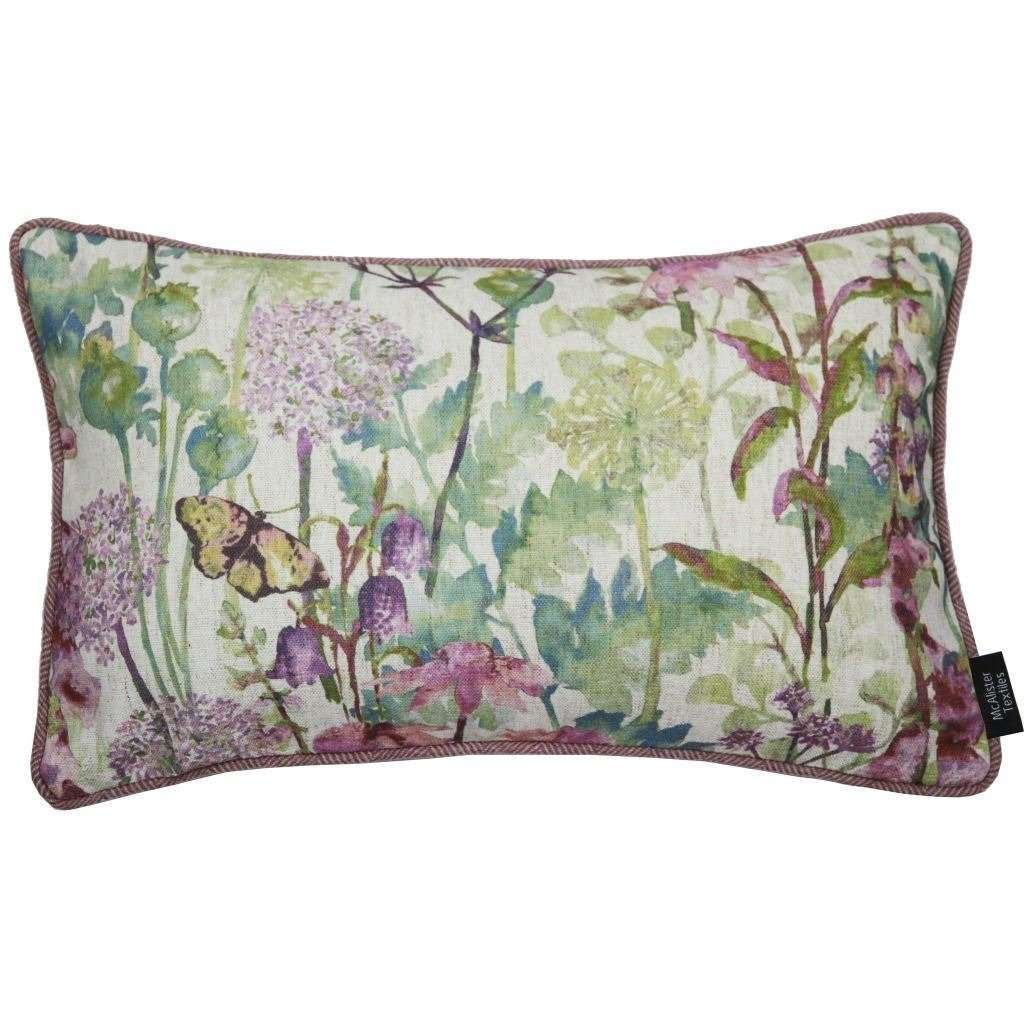 McAlister Textiles Wildflower Pastel Purple Linen Pillow Pillow Cover Only 50cm x 30cm