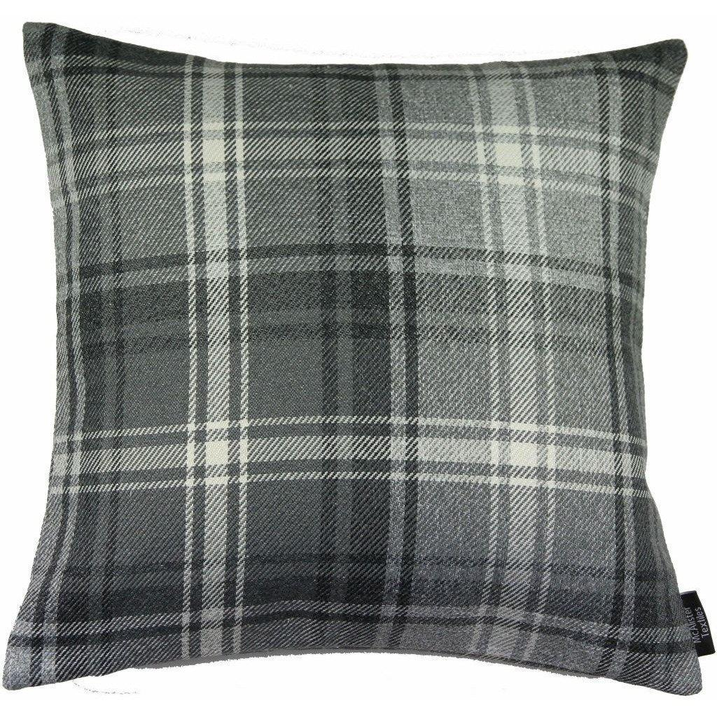 McAlister Textiles Angus Charcoal Grey Tartan Cushion Cushions and Covers Cover Only 43cm x 43cm