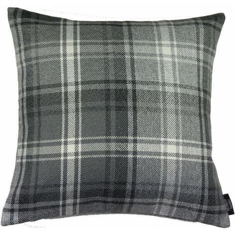 McAlister Textiles Angus Woven Wool Feel Charcoal Grey Tartan Cushion-
