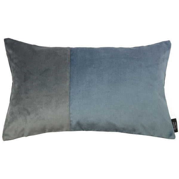 2 Colour Patchwork Velvet Blue + Grey Pillow-Cushions and Covers-Cover Only-50cm x 30cm-