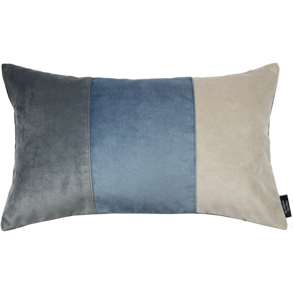 McAlister Textiles 3 Colour Patchwork Velvet Blue, Gold + Grey Pillow Pillow Cover Only 50cm x 30cm