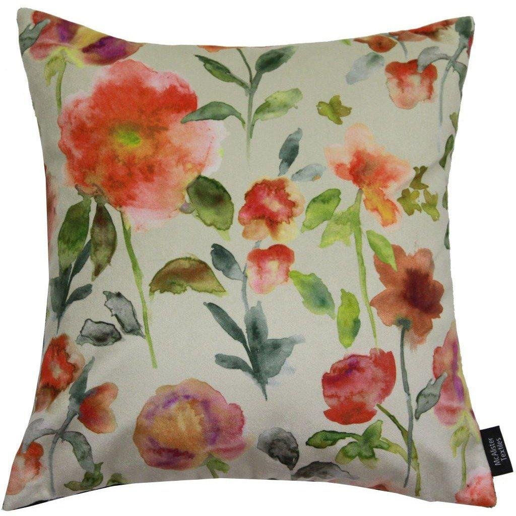 McAlister Textiles Renoir Floral Orange Velvet Cushion Cushions and Covers Polyester Filler 43cm x 43cm