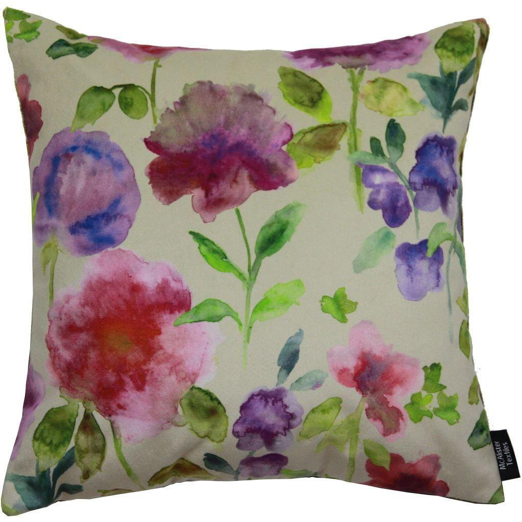 McAlister Textiles Renoir Floral Violet Purple Velvet Cushion Cushions and Covers Polyester Filler 43cm x 43cm