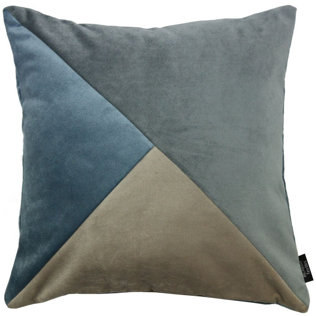 McAlister Textiles Diagonal Patchwork Velvet Blue, Gold + Grey Cushion Cushions and Covers Cover Only 43cm x 43cm