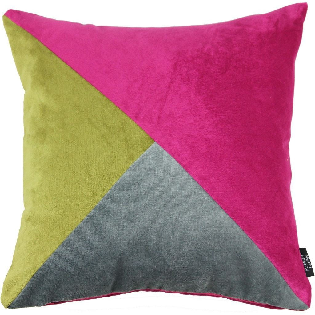 McAlister Textiles Diagonal Patchwork Fuchsia Pink, Lime Green & Grey Velvet Cushion-Cushions and Covers-Cover Only-43cm x 43cm-