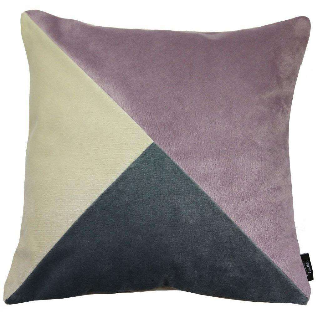 McAlister Textiles Diagonal Patchwork Velvet Purple, Gold + Grey Cushion Cushions and Covers Cover Only 43cm x 43cm