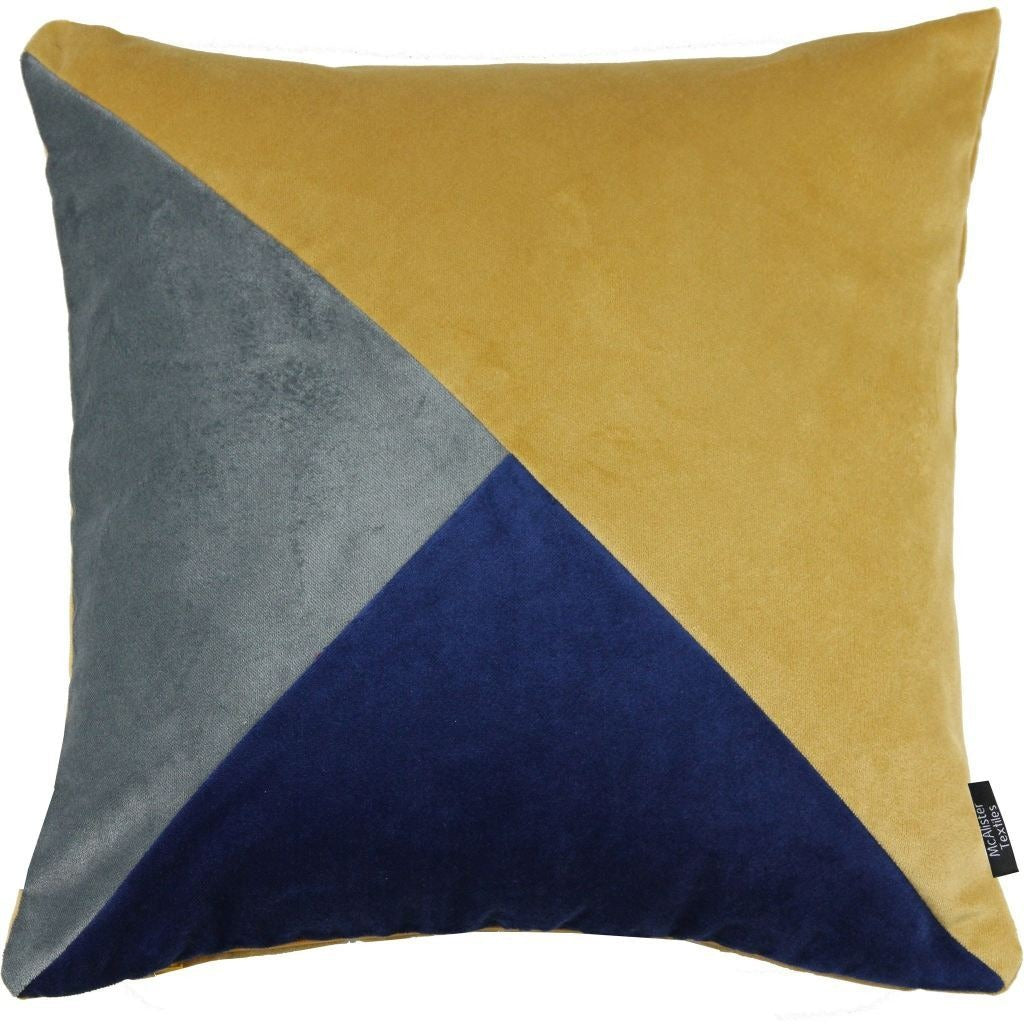 McAlister Textiles Diagonal Patchwork Velvet Navy, Yellow + Grey Cushion Cushions and Covers Cover Only 43cm x 43cm