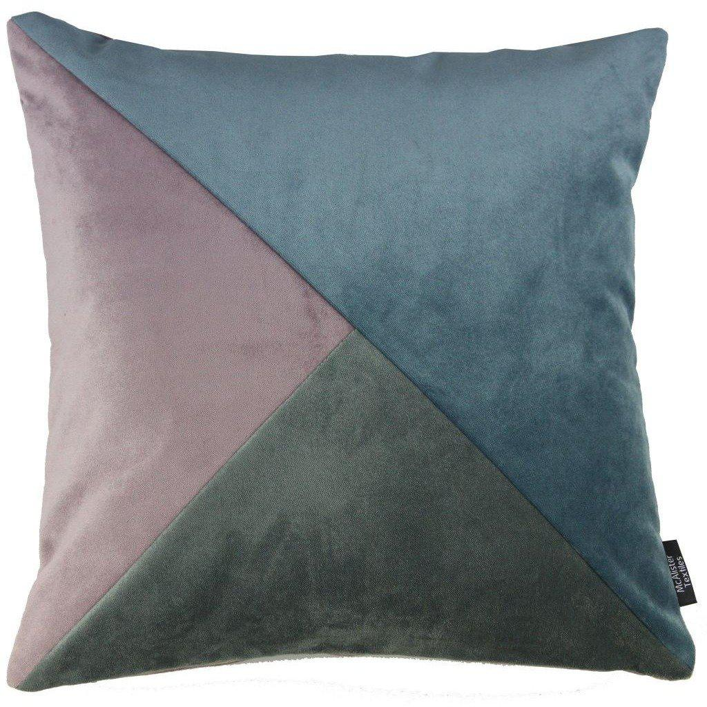 McAlister Textiles Diagonal Patchwork Velvet Cushion - Grey, Purple + Blue-Cushions and Covers-Cover Only-43cm x 43cm-