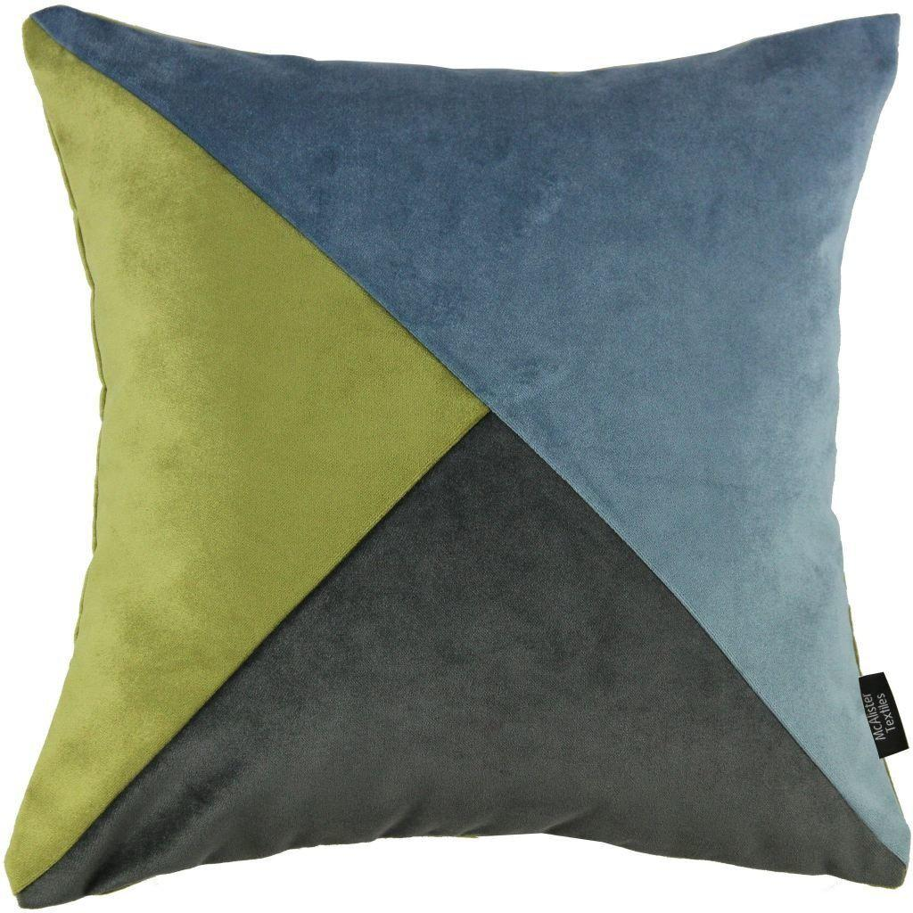 McAlister Textiles Diagonal Patchwork Velvet Blue, Green + Grey Cushion Cushions and Covers Cover Only 43cm x 43cm