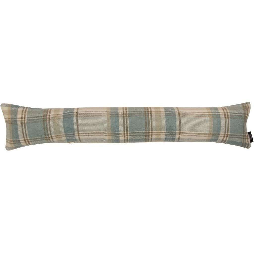McAlister Textiles Heritage Duck Egg Blue Tartan Draught Excluder Draught Excluders