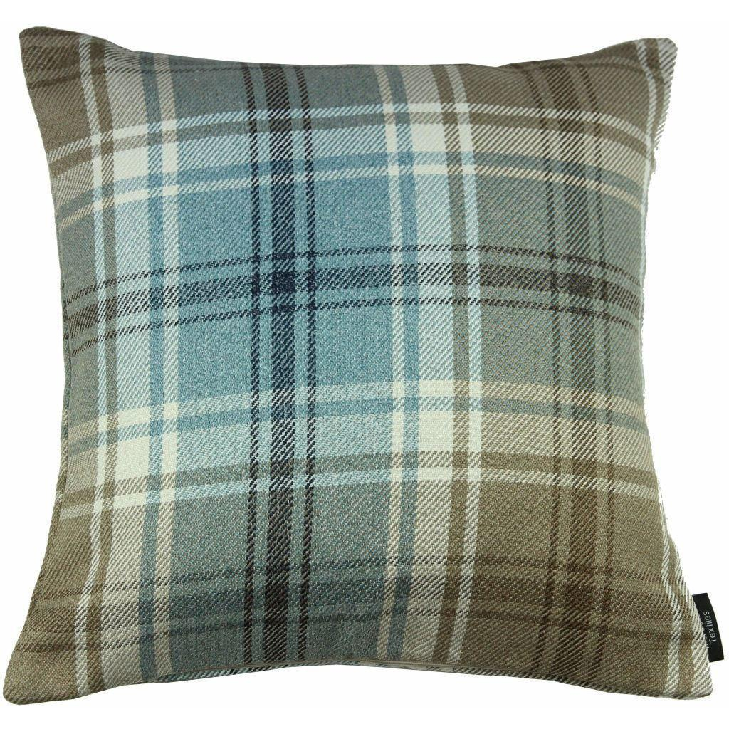 McAlister Textiles Angus Duck Egg Blue Tartan Cushion Cushions and Covers Cover Only 43cm x 43cm
