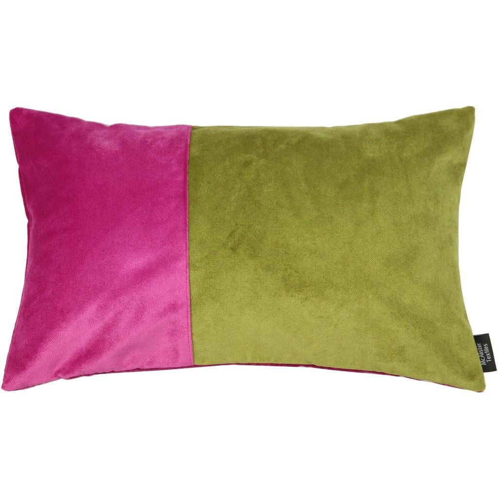 McAlister Textiles 2 Colour Patchwork Fuchsia Pink and Lime Green Velvet Pillow-Cushions and Covers-Cover Only-50cm x 30cm-