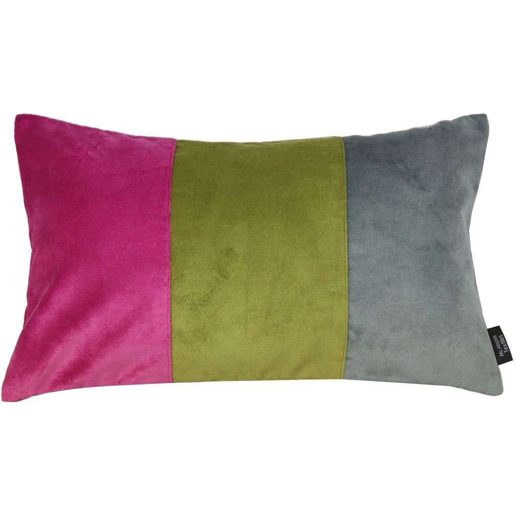 McAlister Textiles 3 Colour Patchwork Velvet Pink, Green + Grey Pillow Cushions and Covers Cover Only 50cm x 30cm