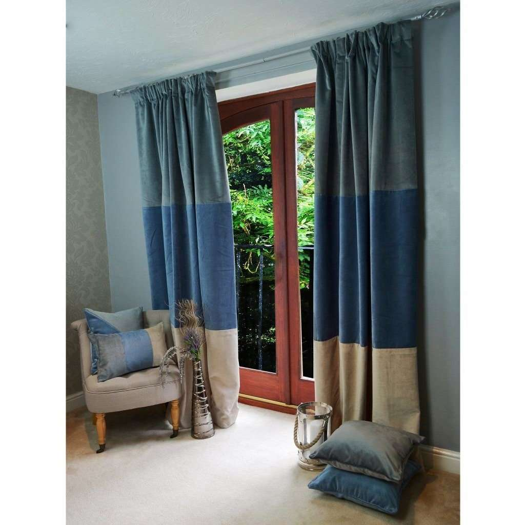 "McAlister Textiles Patchwork Velvet Blue, Gold + Grey Curtains Tailored Curtains 116cm(w) x 182cm(d) (46"" x 72"")"