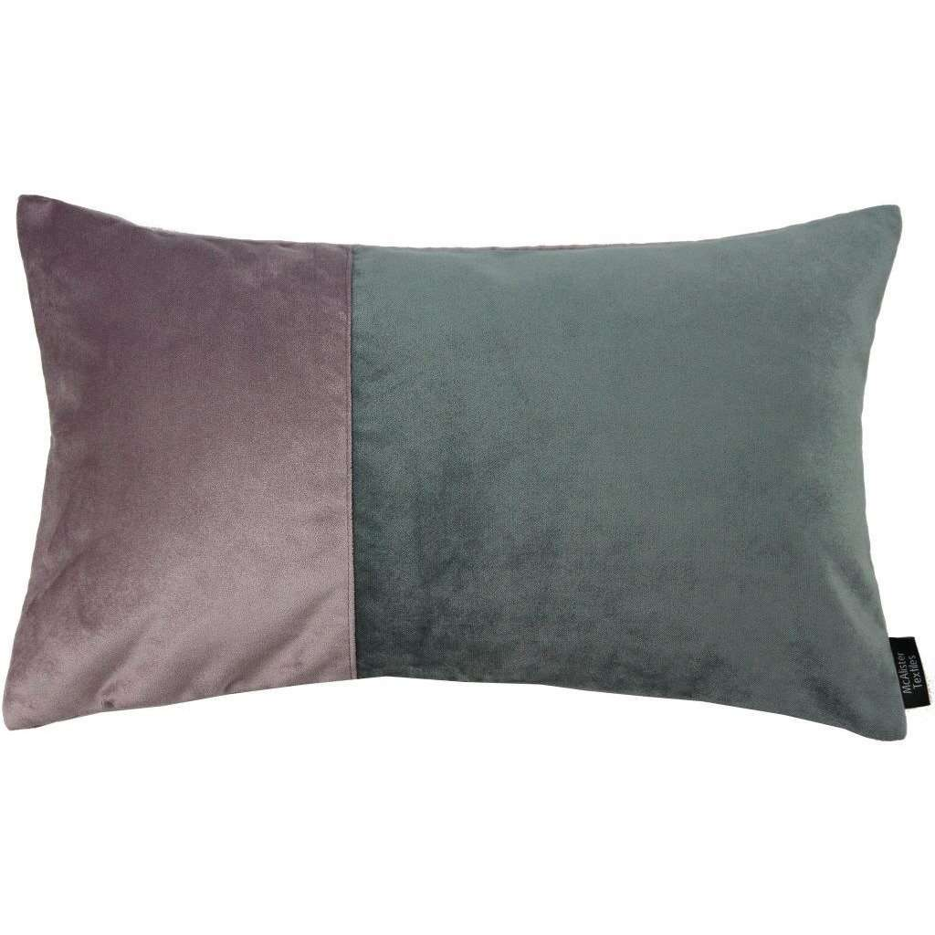 McAlister Textiles Velvet Patchwork Throw Pillow - Purple + Grey-Cushions and Covers-Cover Only-50cm x 30cm-
