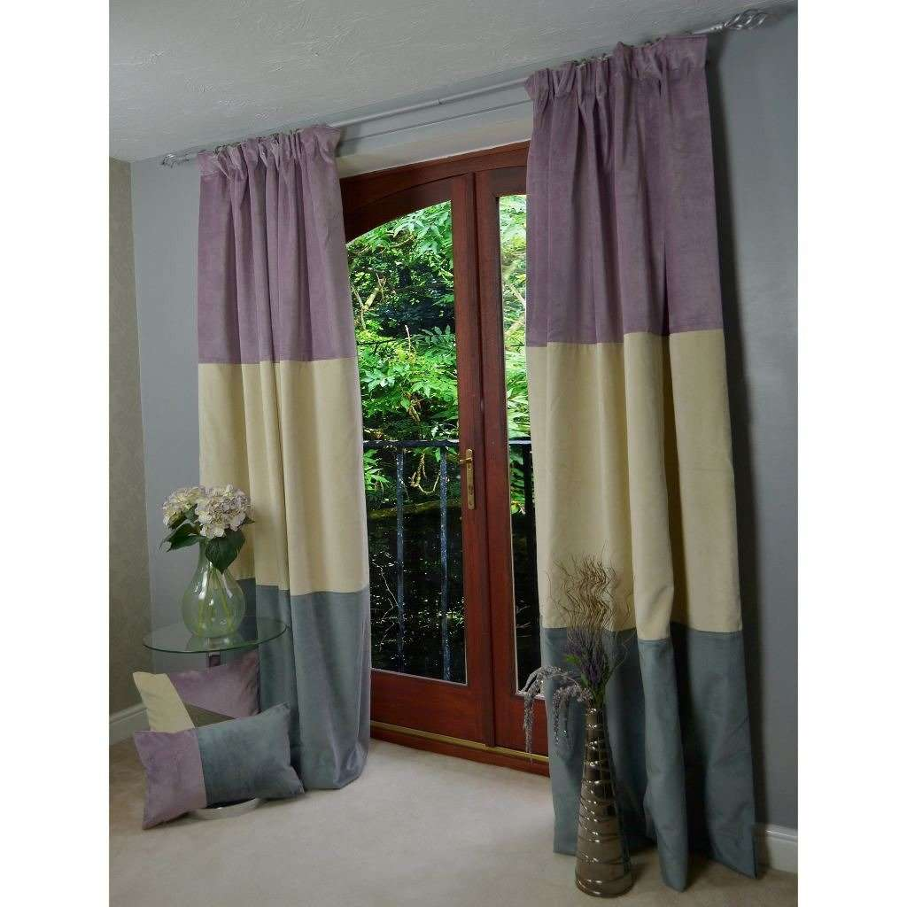 McAlister Textiles 3 Colour Patchwork Lilac Purple Champagne Gold And Charcoal Grey Velvet Curtains