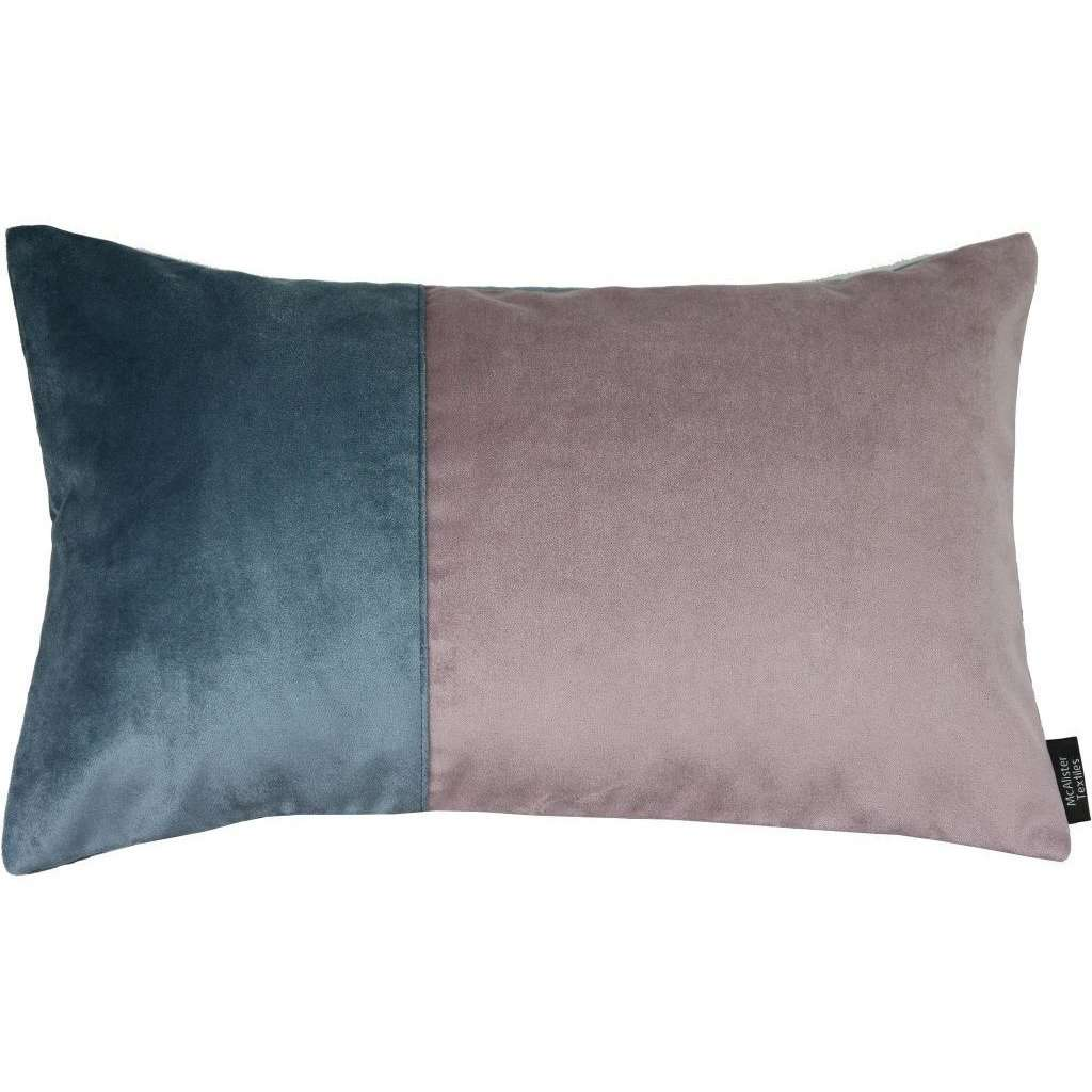 McAlister Textiles 2 Colour Patchwork Petrol Blue and Lilac Purple Velvet Pillow-Cushions and Covers-Cover Only-50cm x 30cm-