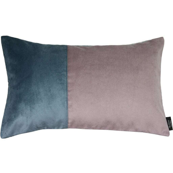 McAlister Textiles 2 Colour Patchwork Velvet Blue + Purple Pillow Cushions and Covers Cover Only 50cm x 30cm