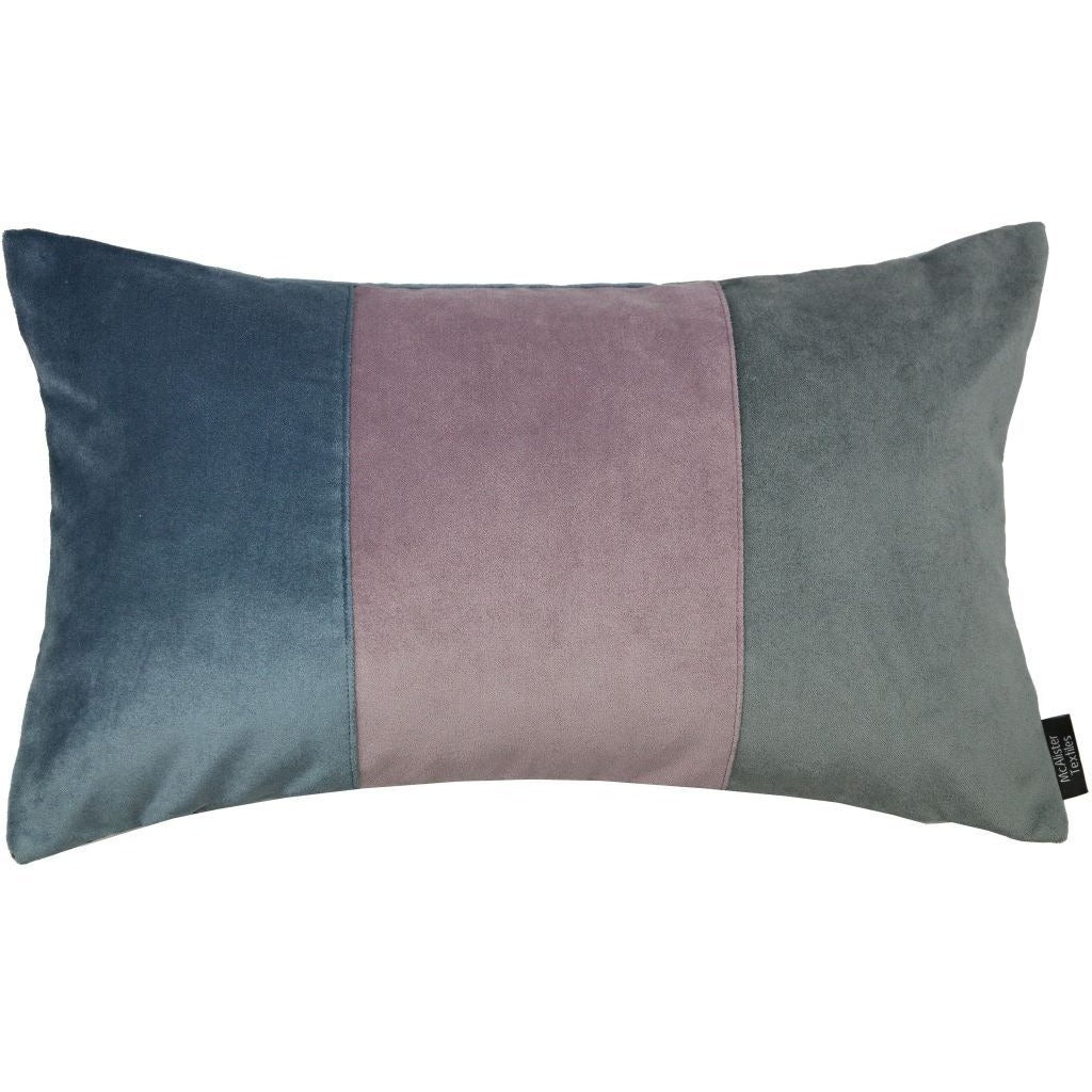 McAlister Textiles 3 Colour Patchwork Velvet Blue, Purple + Grey Pillow Cushions and Covers Cover Only 50cm x 30cm