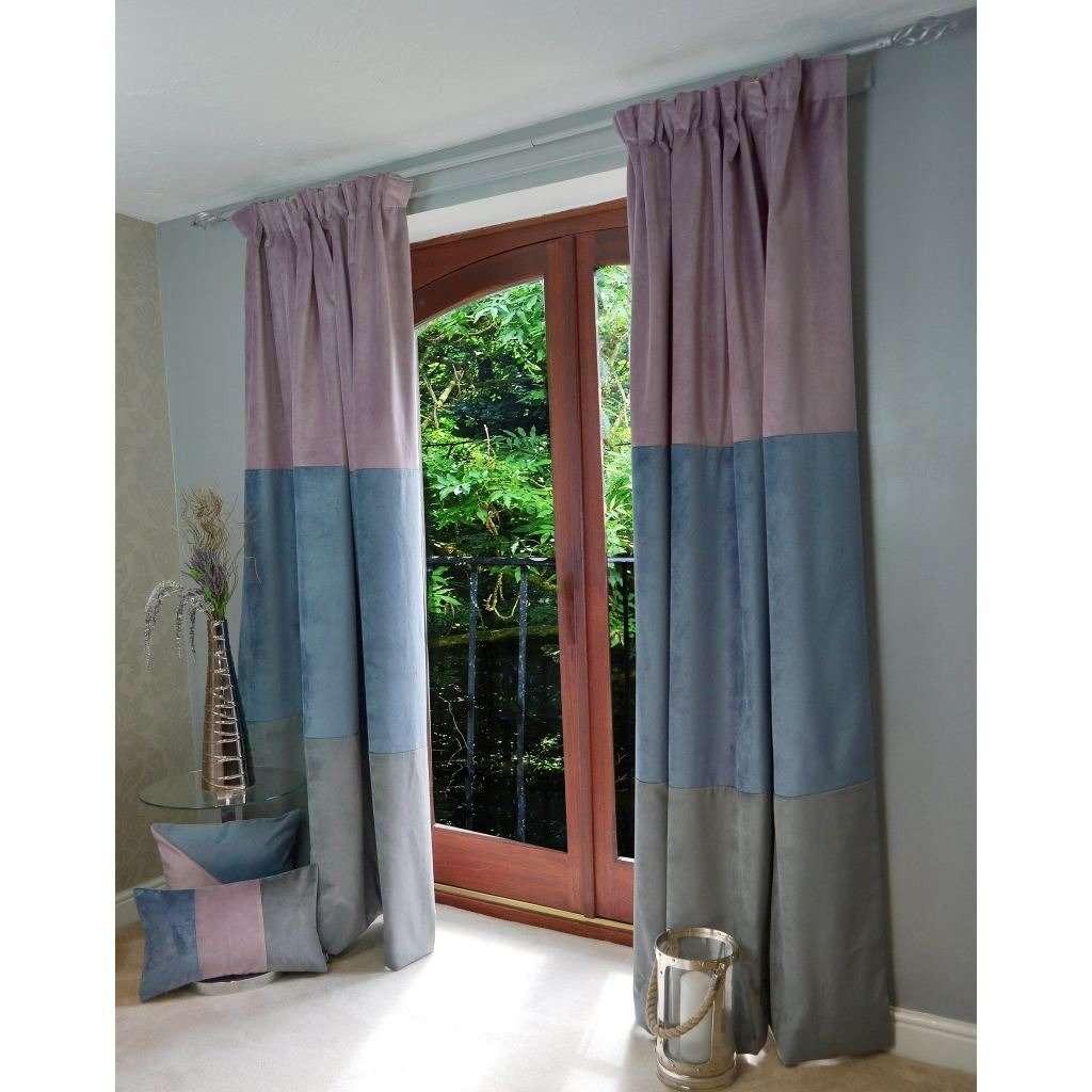 "McAlister Textiles Patchwork Velvet Purple, Blue + Grey Curtains Tailored Curtains 116cm(w) x 182cm(d) (46"" x 72"")"