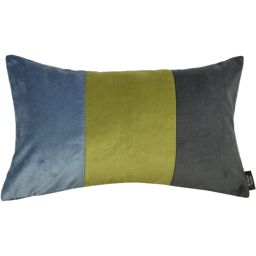 McAlister Textiles 3 Colour Patchwork Velvet Blue, Green + Grey Pillow Cushions and Covers