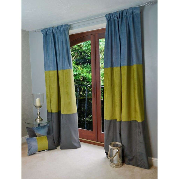 "McAlister Textiles Patchwork Velvet Blue, Green + Grey Curtains Tailored Curtains 116cm(w) x 182cm(d) (46"" x 72"")"