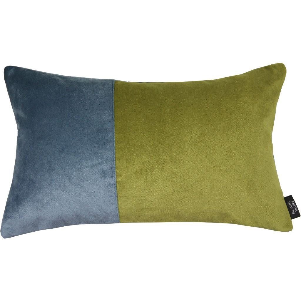 McAlister Textiles 2 Colour Patchwork Velvet Blue + Green Pillow Cushions and Covers Cover Only 50cm x 30cm