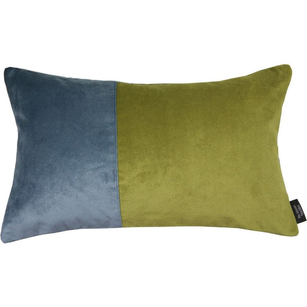 2 Colour Patchwork Velvet Blue + Green Pillow-Cushions and Covers-Cover Only-50cm x 30cm-